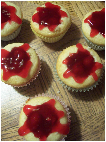 Cherry-filled Diabetic cupcakes.