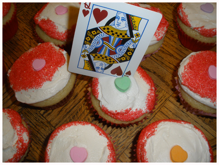 Queen of Hearts cupcakes with candy hearts.