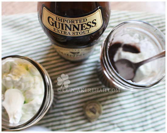 Dark chocolate Guinness pudding with creme de menthe whipped cream!