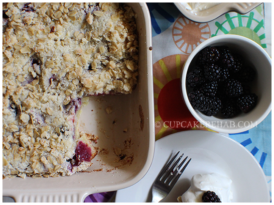 Blackberry oat breakfast bake/whateveryouwannacallit. Can go from breakfast to dessert in 5 seconds; just add yogurt, vanilla ice cream or whipped cream on top.