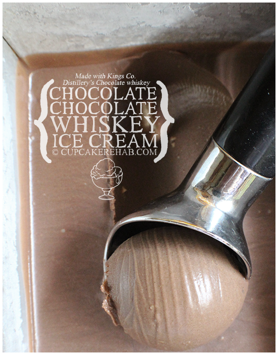 "Chocolate whiskey ice cream. Made with two types of chocolate and chocolate ""flavored"" whiskey from Kings Co. Distillery."