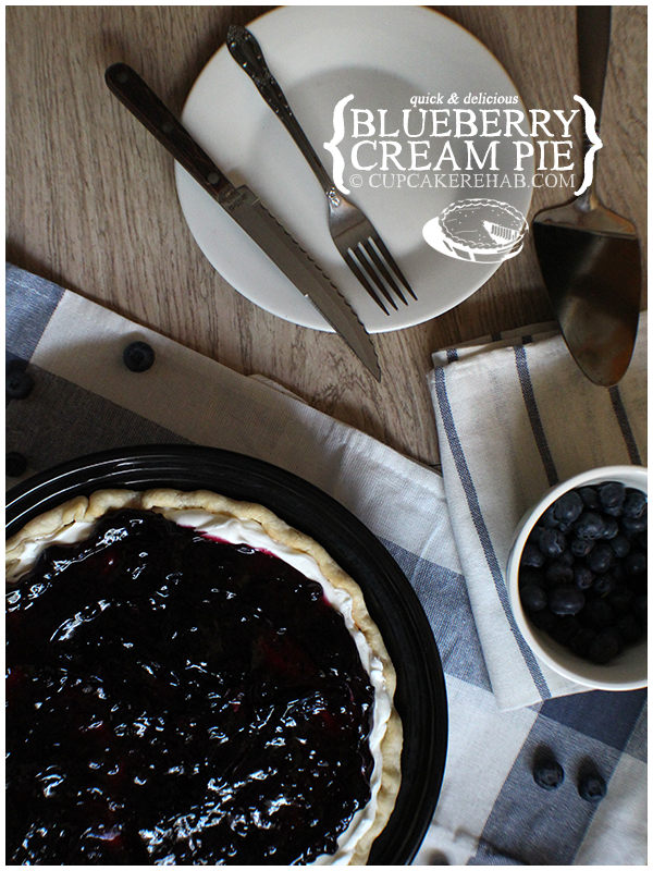 Easy & delicious blueberry cream pie. Perfect for Father's Day or a summertime barbecue.
