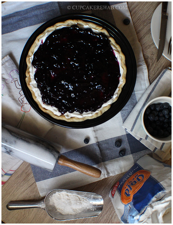 Blueberry cream pie for Father's Day! The only baking involved is the crust.