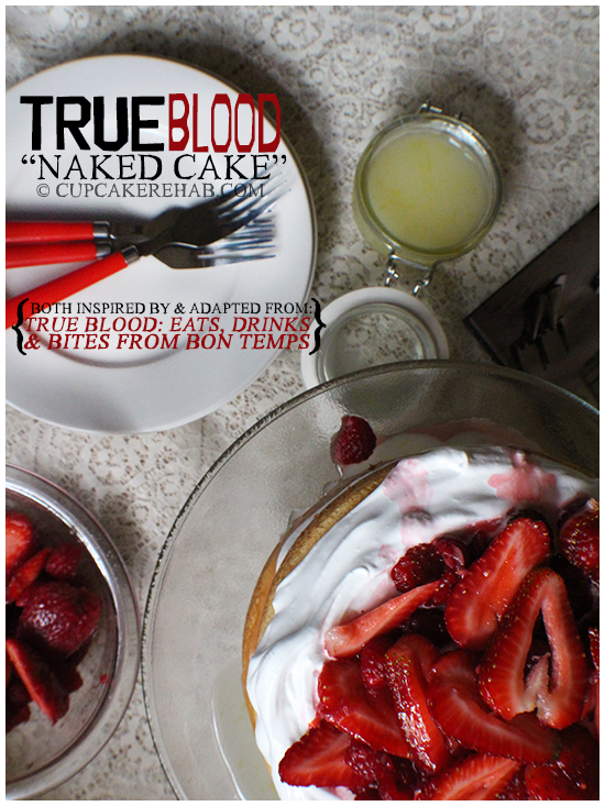 A layer cake filled with lemon filling, vanilla frosting & a mixed berry topping inspired by and adapted from the True Blood cookbook.
