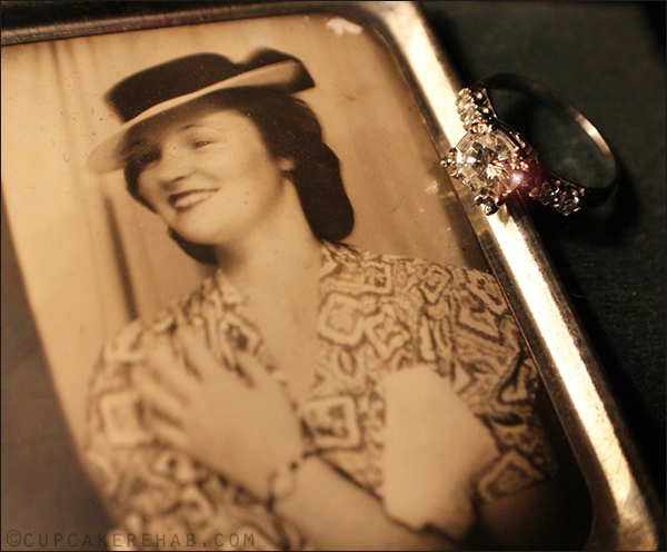 My grandmother, showing off her engagement ring in a Photomatic photo from the late 1930's.. and then her actual ring, which is now mine.