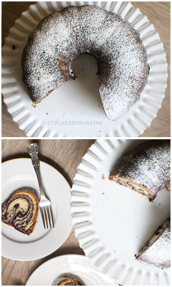 Zebra bundt cake- recipe from Baker's Royale. Perfect anniversary cake!