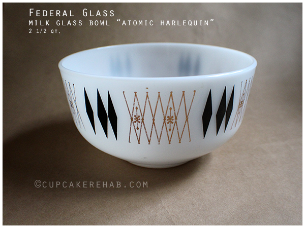 Federal Glass milk glass bowl with black diamonds & gold; pattern is 'Atomic Harlequin.'
