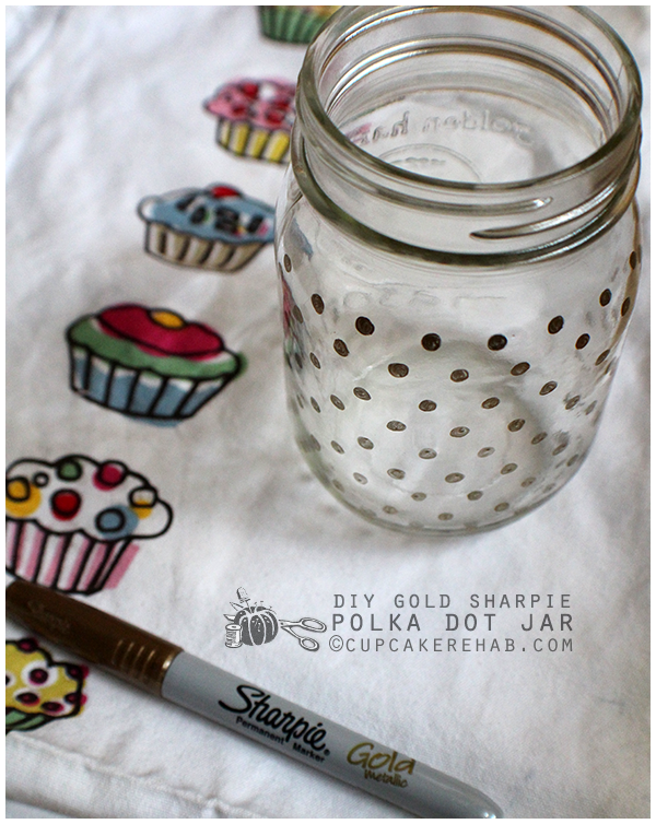 Gold-polka dotted mason jars!