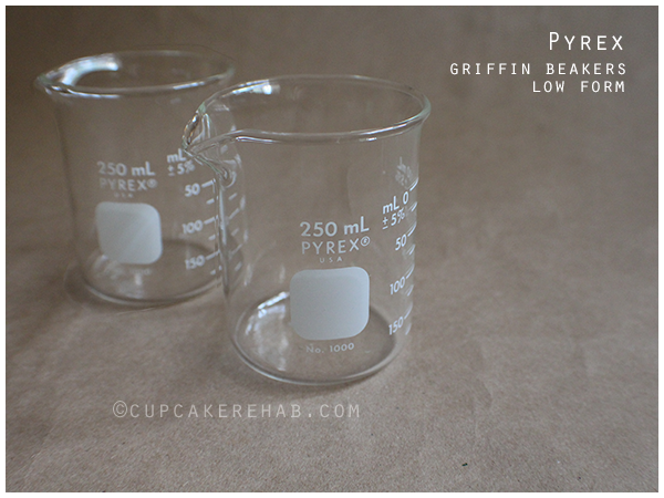 Pyrex low form Griffin beakers, thrifted for $.69 each! Excellent to use as measuring cups.