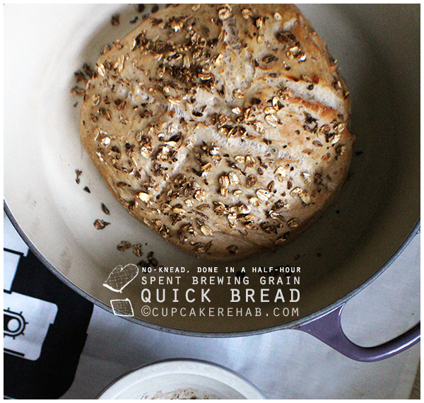 A quick no-knead bread made from spent brewing grains. No kneading, no rising time!