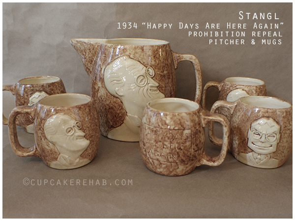 Stangl Pottery 1934 Happy Days Are Here Again prohibition repeal drinking set. #Stangl #Prohibition #FDR #1930s