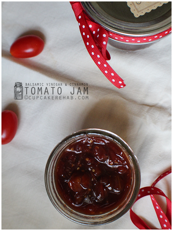 Tomato jam! Made with balsamic vinegar, cinnamon, cloves & fresh tomatoes.