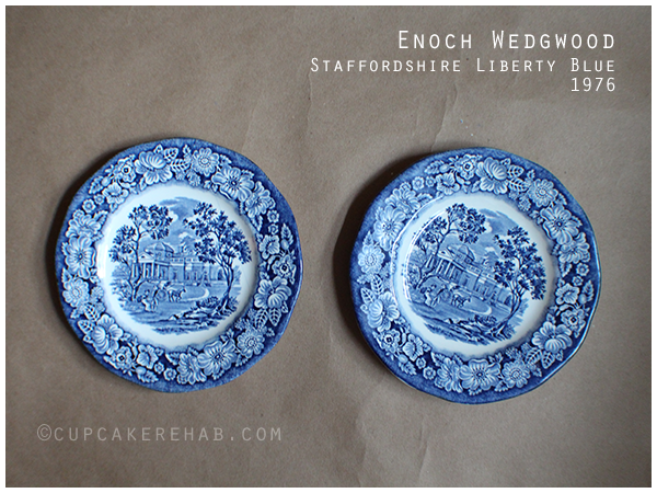 Enoch Wedgwood Staffordshire Liberty Blue ironstone bread & butter plates; scene: Monticello.
