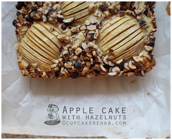 Apple cake made with hazelnuts. The hazelnuts toast in the oven & the middle layer of apples just melts into the coffee-cake style cake, leaving you with a moist, delicious dessert.