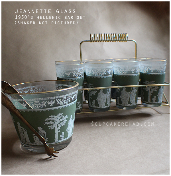 Fantastic green & gold Jeannette Glass 'Hellenic' bar set.