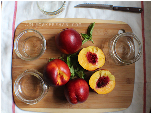 Prepping to make some nectarine basil preserves.
