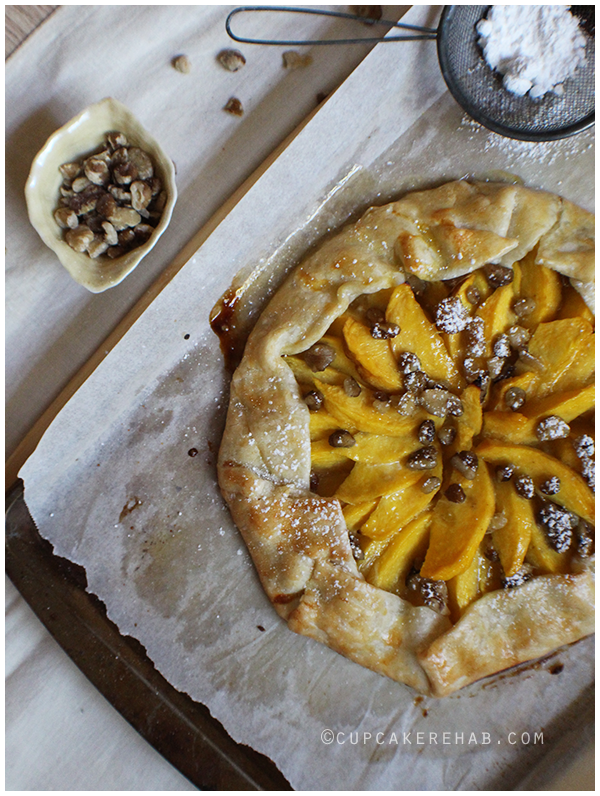 Peach bourbon black walnut crostata.