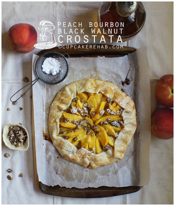 Peach bourbon black walnut crostata; the lazy woman's dessert.