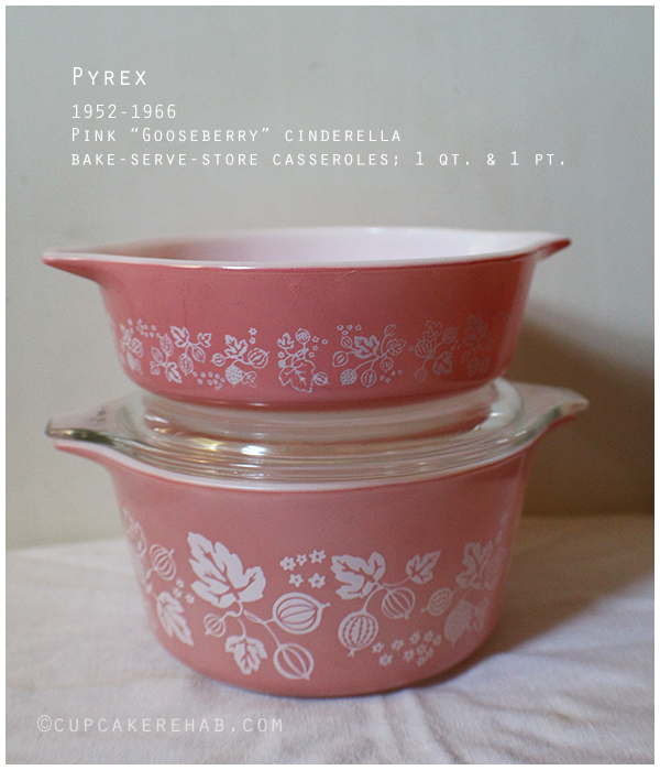 Pyrex pink Gooseberry casseroles; thrifted for $3.00.