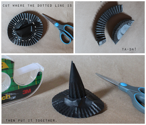 How to make DIY witches hats made of cupcake liners.