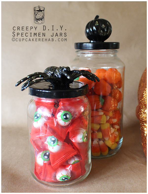 Easy DIY Halloween specimen jars (or candy jars).