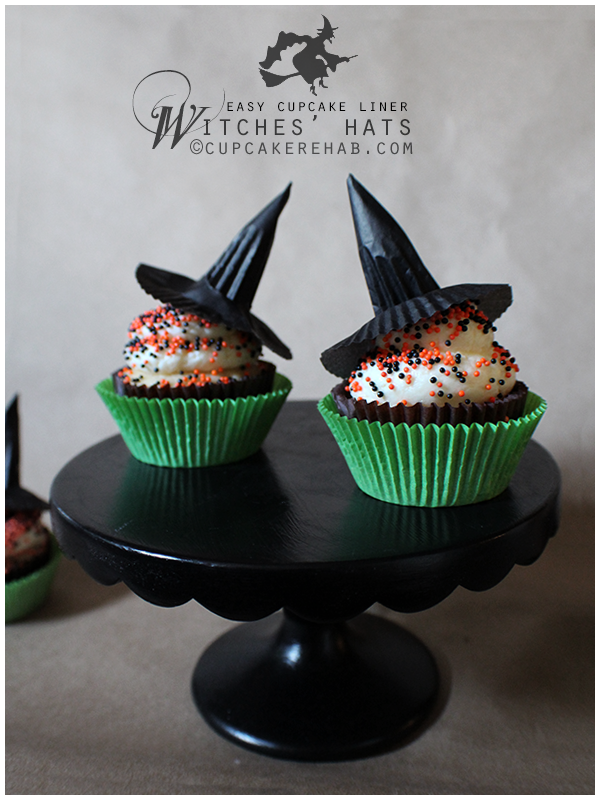 Easy DIY witch hat cupcake toppers made from cupcake liners!
