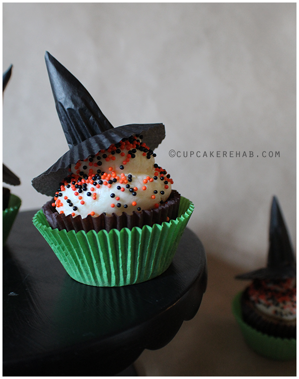 Witch hat cupcake toppers made from cupcake liners.