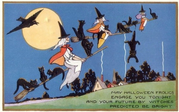 Vintage postcard: flying witches.