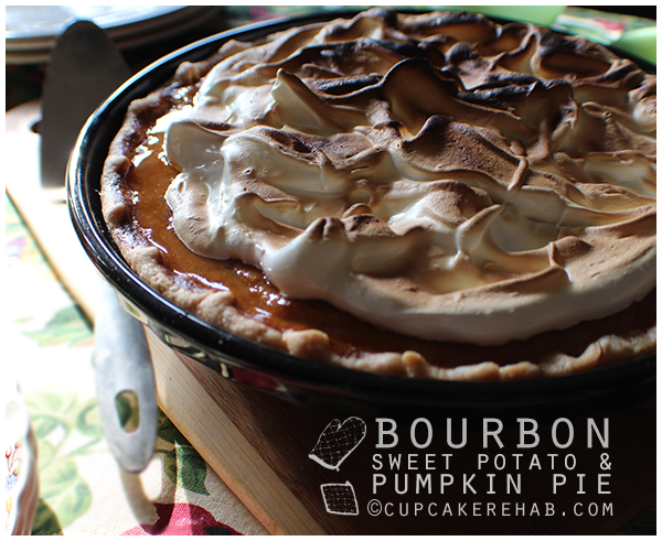 The holy grail of fall pies: bourbon sweet potato pumpkin with a toasted bourbon meringue.