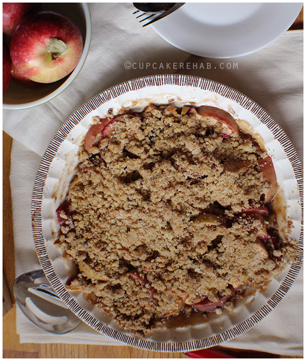 An easy maple apple walnut crisp, perfect for fall.