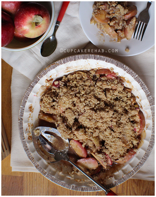 An apple crisp made with real maple syrup. A great alternative to pumpkin-everything in the fall.