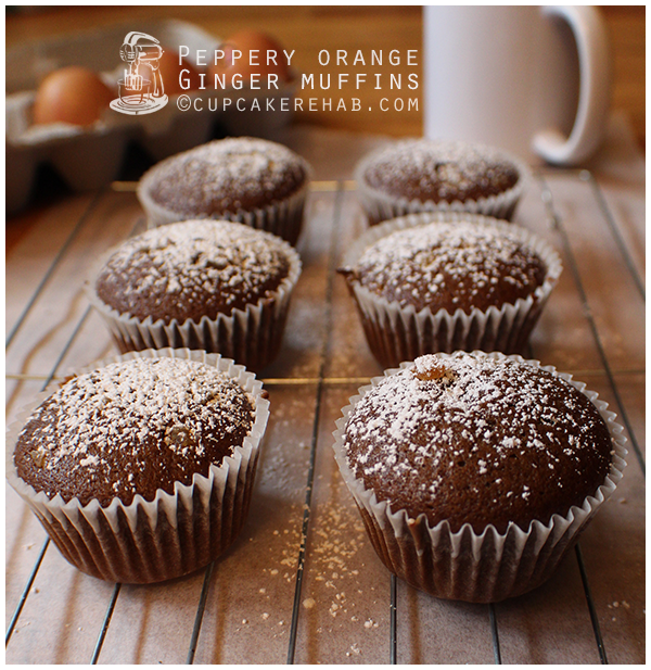 Peppery orange ginger muffins. Or spiced orange ginger muffins with black pepper. Whatever they are, they're amazing!