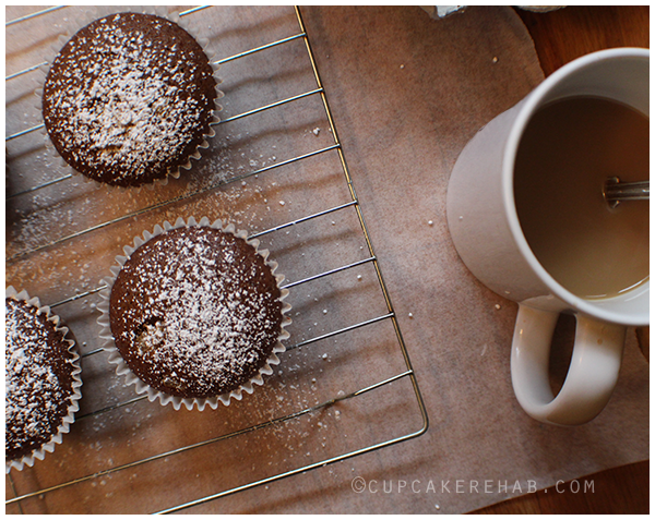 Easy muffins made with candied ginger, orange zest, coffee & black pepper.