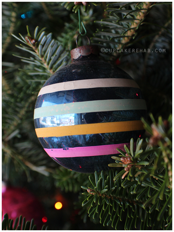 Vintage blue striped ornament.