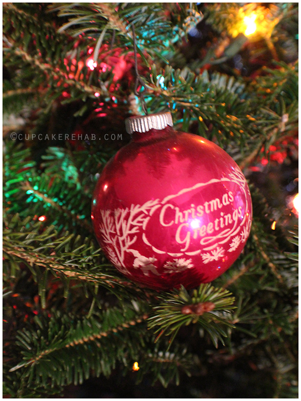 Vintage Shiny Brite Christmas greetings ornament.