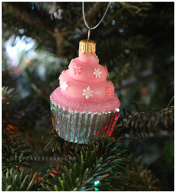Glass cupcake ornament from Poland.