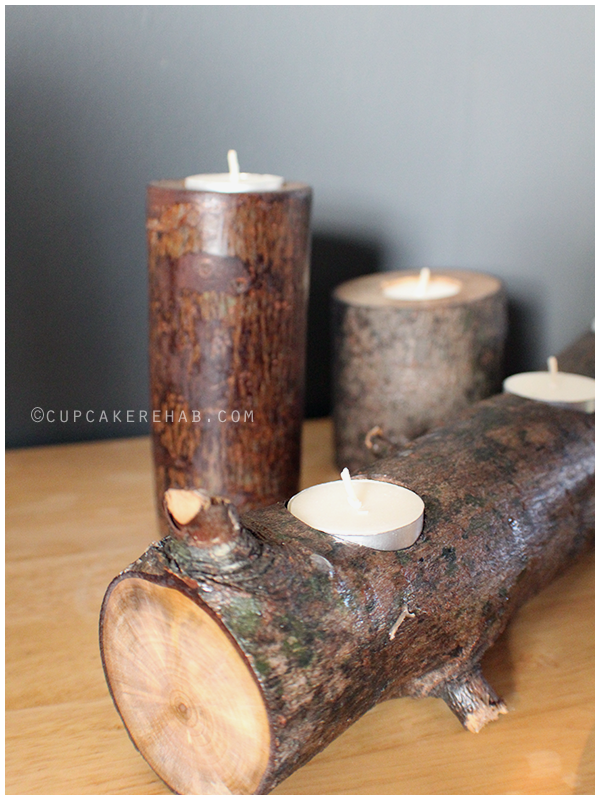 Easy DIY project: tree branch candle holders.