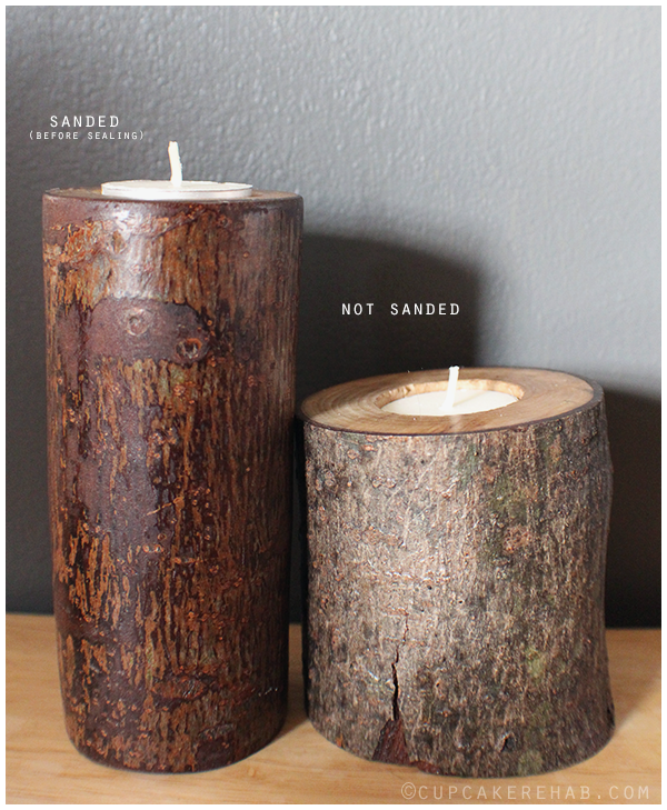 Make some rustic candle holders with fallen tree branches!