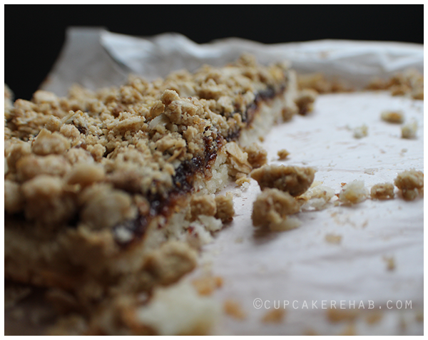 Figgy pudding cookie bars made with Duchy Originals oaten biscuits.