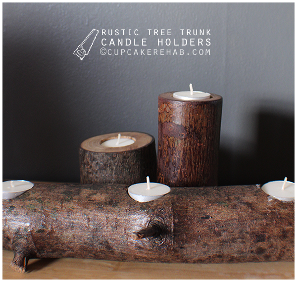 DIY rustic tree stump/tree branch candle holder.