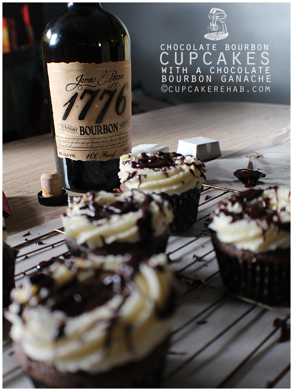 Chocolate bourbon cupcakes! With chocolate bourbon ganache!