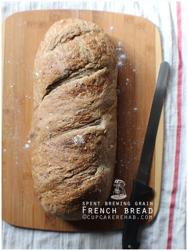 Spent brewing grain French bread.