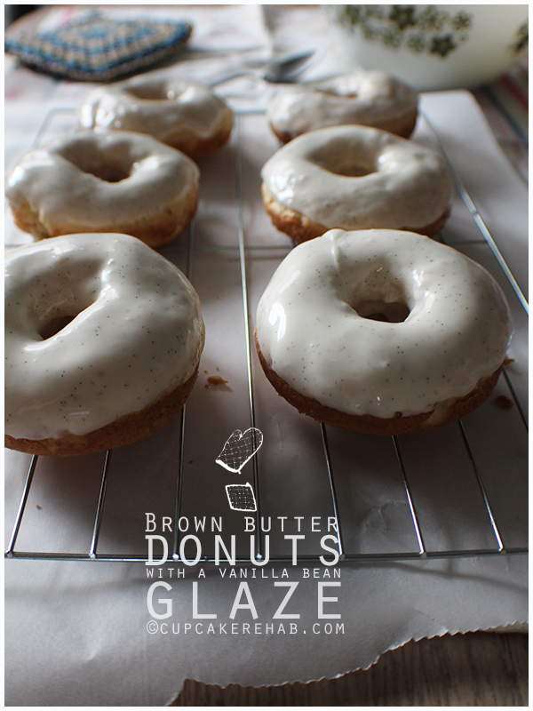 Brown butter donuts with a thick vanilla bean glaze!