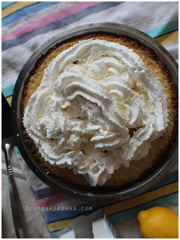 Lemon pie with tons of whipped cream & a ginger shortbread cookie crust!