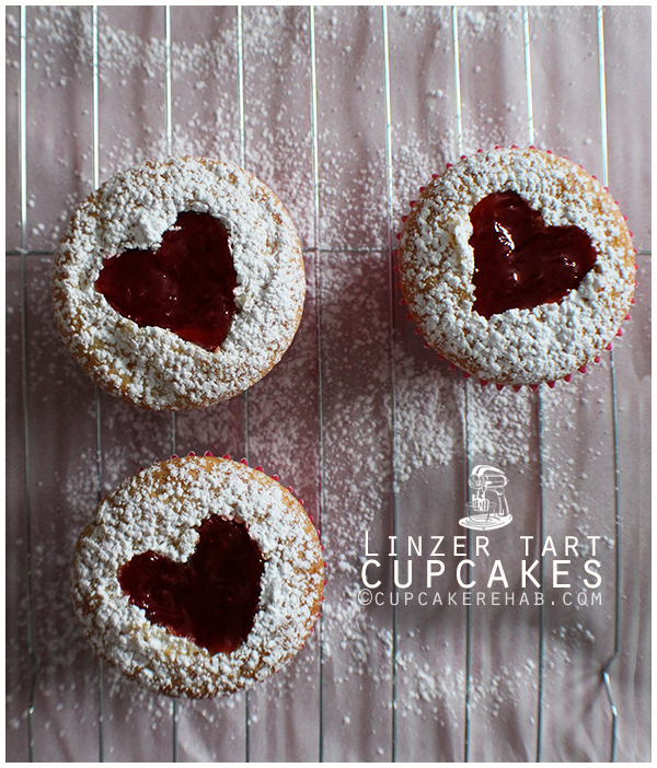 Linzer tart cupcakes for Valentine's Day.