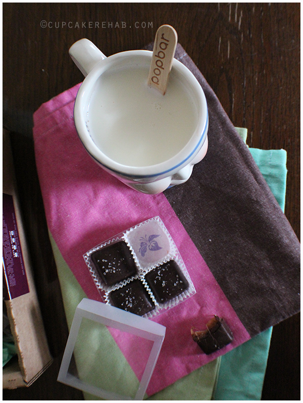 Popbar hot chocolate on a stick with Lillie Belle Farms lavender sea salt caramels from Treatsie!