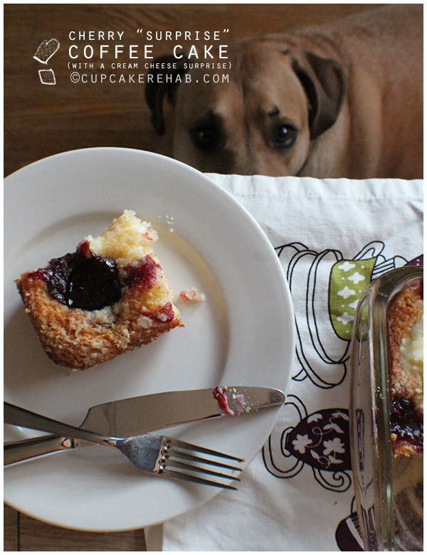 Cherry surprise coffee cake; the surprise is a cream cheese filling floating throughout.
