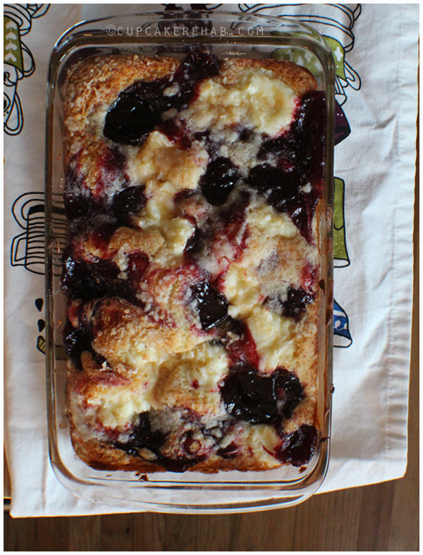 Delightfully easy coffee cake with cherries & a surprise: cream cheese.