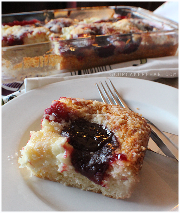 "Cherry ""surprise"" coffee cake (the surprise is cream cheese!)."