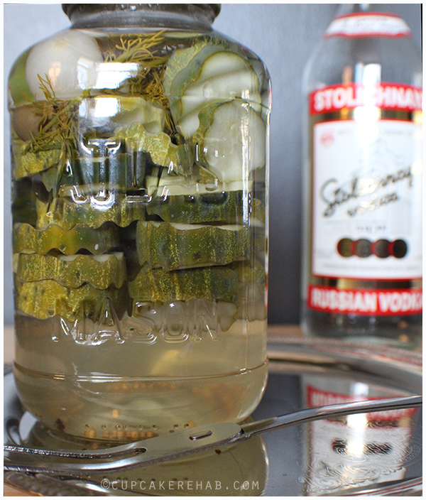 Martini pickles with pearl onions, olive juice, and vodka.